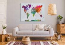 Obraz z mapą świata